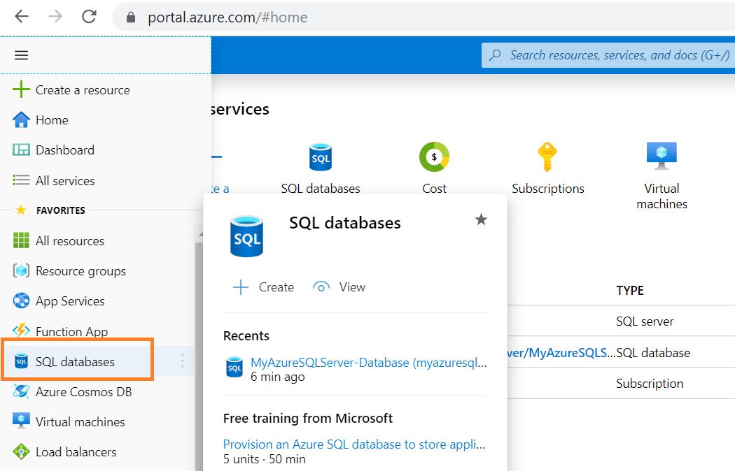Azure Portal Navigation towards SQL databases