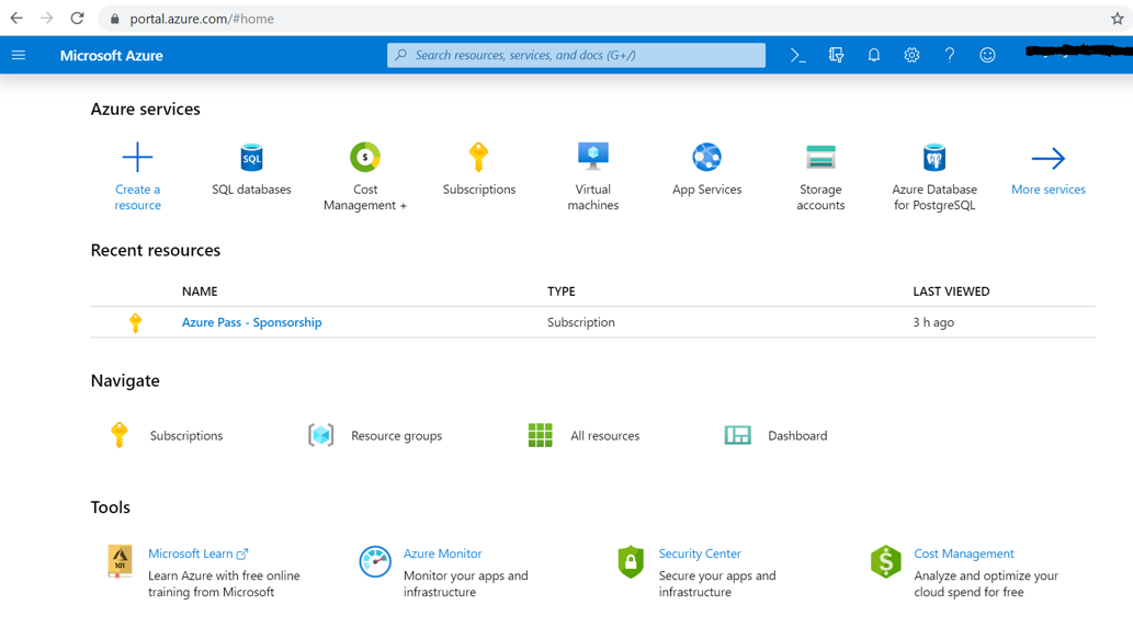 Microsoft Azure Portal - Home