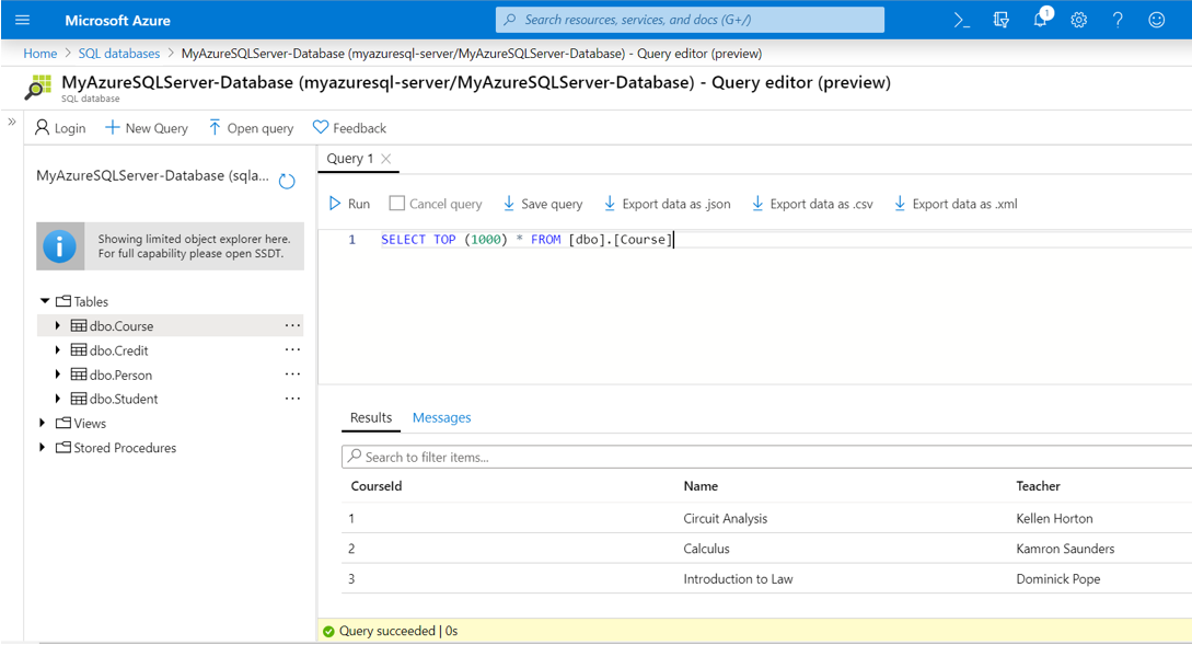 Microsoft Azure SQL Query Editor