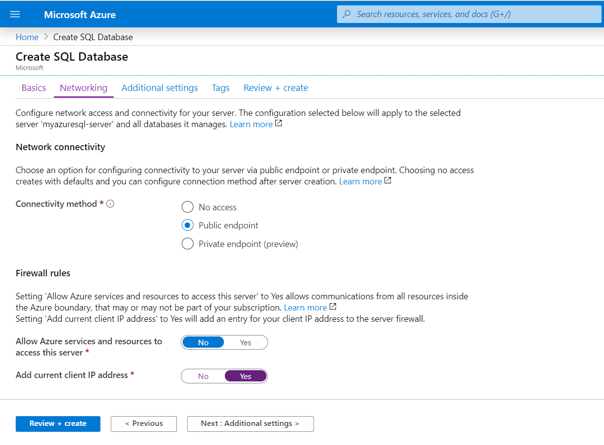 Microsoft Azure - SQL Server Database Network Connectivity