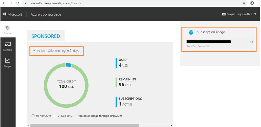 Microsoft Azure Sponsorships Details
