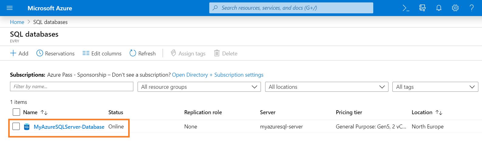 Navigate to SQL Database on Azure Portal