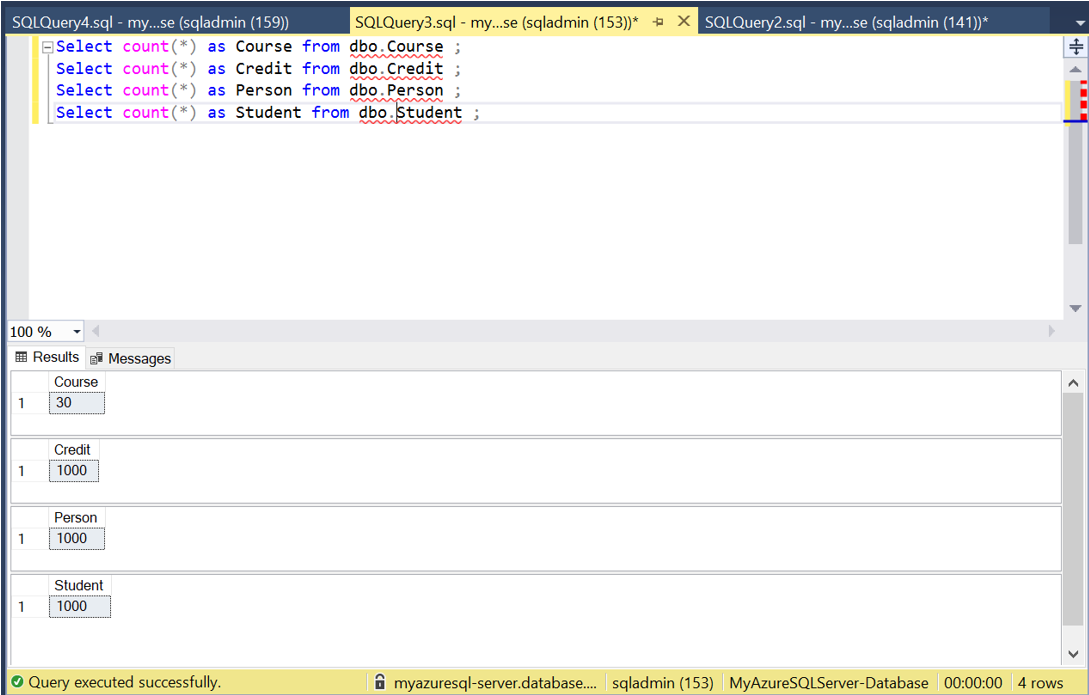 SQL Queries on Azure SQL database from SSMS