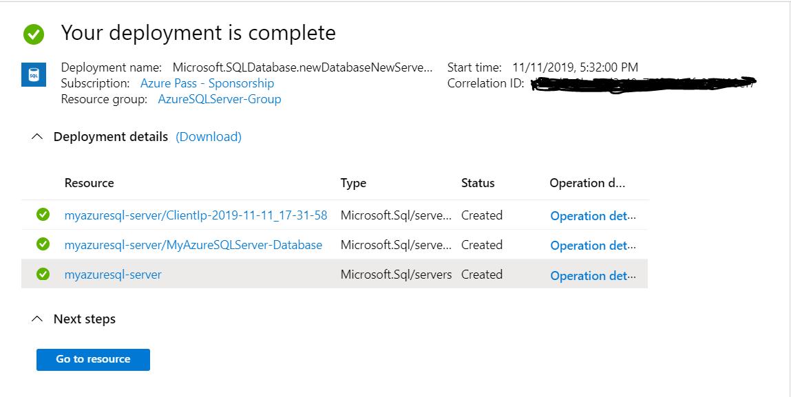 Verify New Microsoft Azure - SQL Server & Database
