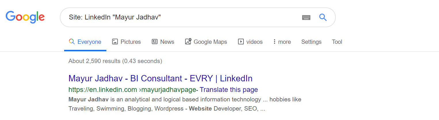 Google search site- LinkedIn