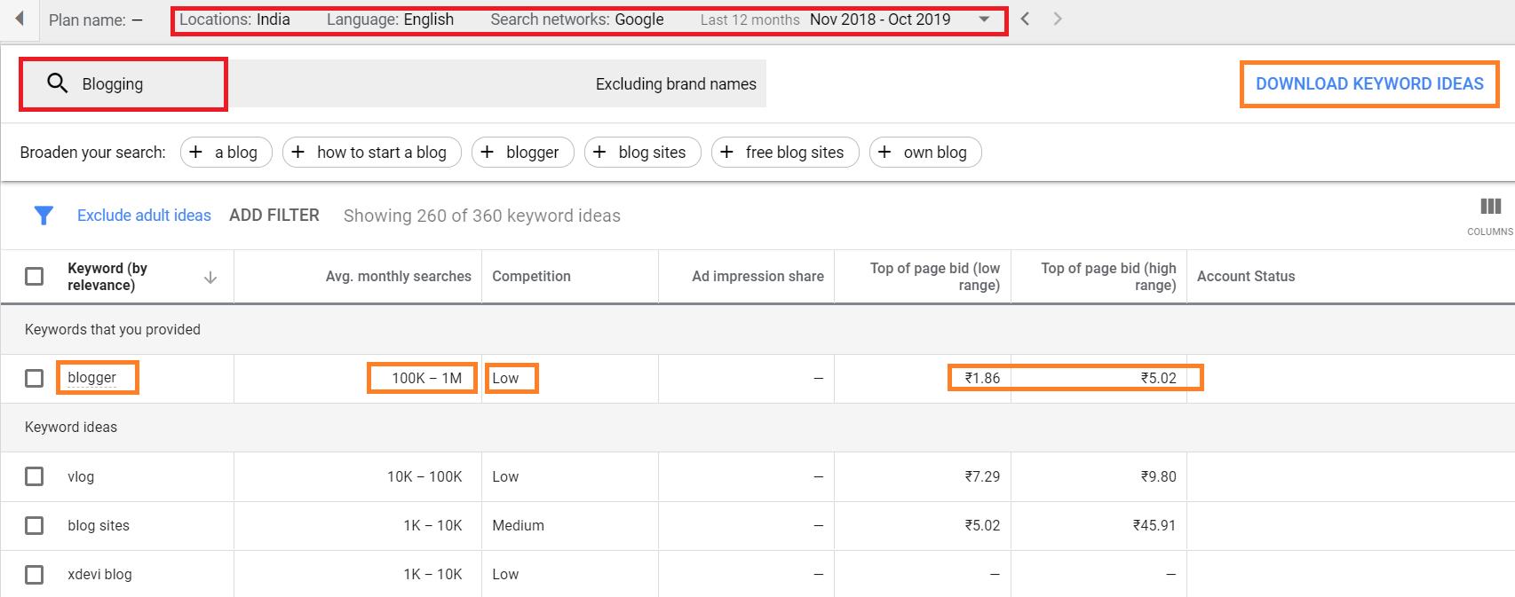 Keyword Planner - Google Ads
